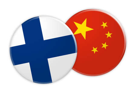 News Concept: Finland Flag Button On China Flag Button, 3d illustration on white background