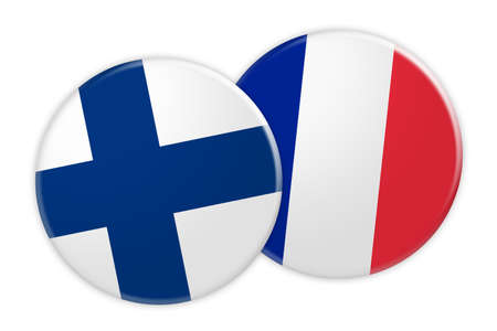 foreign national: News Concept: Finland Flag Button On France Flag Button, 3d illustration on white background Stock Photo