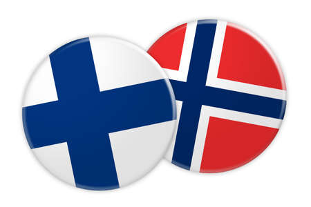 News Concept: Finland Flag Button On Norway Flag Button, 3d illustration on white background