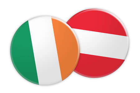 foreign national: News Concept: Ireland Flag Button On Austria Flag Button, 3d illustration on white background