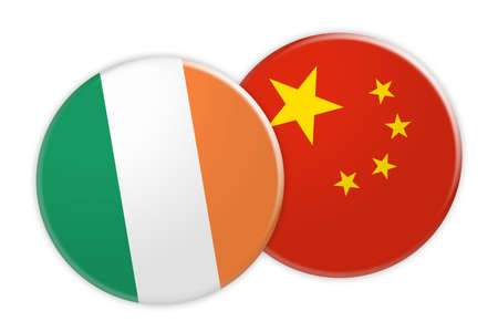 News Concept: Ireland Flag Button On China Flag Button, 3d illustration on white background Stock Photo