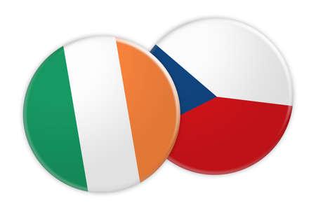Concepto de las noticias: Botón de la bandera de Irlanda en el botón de la bandera de la República Checa, ejemplo 3d en el fondo blanco Foto de archivo