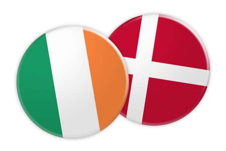 News Concept: Ireland Flag Button On Denmark Flag Button, 3d illustration on white background Stock Photo