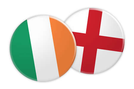 News Concept: Ireland Flag Button On England Flag Button, 3d illustration on white background Stock Photo
