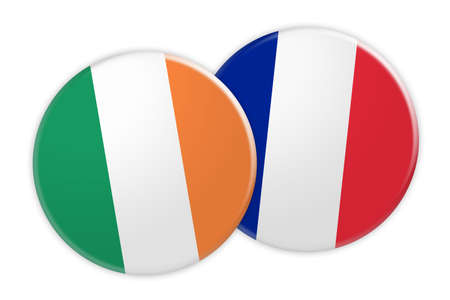 foreign national: News Concept: Ireland Flag Button On France Flag Button, 3d illustration on white background