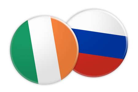Concepto de las noticias: Botón de la bandera de Irlanda en el botón de la bandera de Rusia, ilustración 3d en el fondo blanco