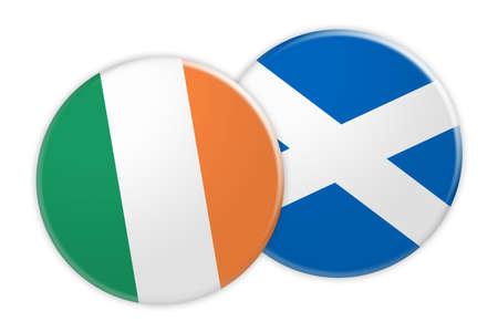News Concept: Ireland Flag Button On Scotland Flag Button, 3d illustration on white background