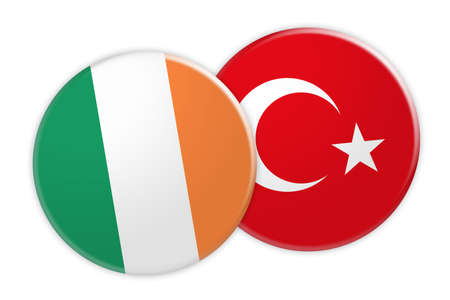News Concept: Ireland Flag Button On Turkey Flag Button, 3d illustration on white background