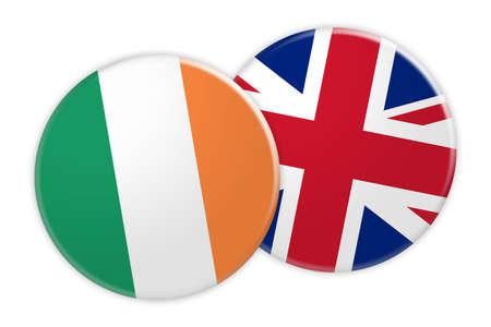 News Concept: Ireland Flag Button On UK Flag Button, 3d illustration on white background Stock Photo