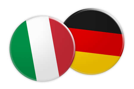 News Concept: Italy Flag Button On Germany Flag Button, 3d illustration on white background Stock Photo
