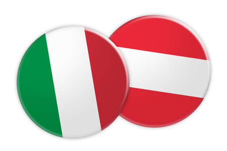 News Concept: Italy Flag Button On Austria Flag Button, 3d illustration on white background Stock Photo
