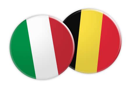 News Concept: Italy Flag Button On Belgium Flag Button, 3d illustration on white background Stock Photo