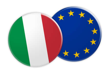 News Concept: Italy Flag Button On EU Flag Button, 3d illustration on white background