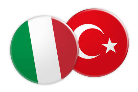 foreign national: News Concept: Italy Flag Button On Turkey Flag Button, 3d illustration on white background Stock Photo