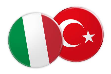 News Concept: Italy Flag Button On Turkey Flag Button, 3d illustration on white background Stock Photo