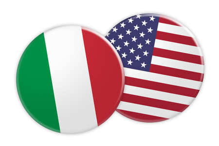 News Concept: Italy Flag Button On USA Flag Button, 3d illustration on white background