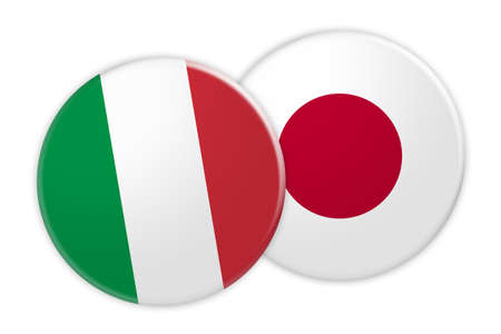 News Concept: Italy Flag Button On Japan Flag Button, 3d illustration on white background