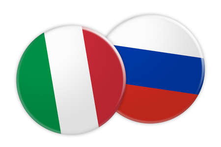 News Concept: Italy Flag Button On Russia Flag Button, 3d illustration on white background Stock Photo