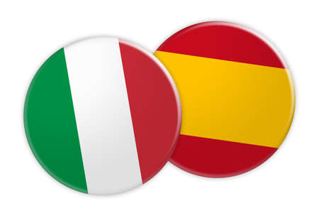 News Concept: Italy Flag Button On Spain Flag Button, 3d illustration on white background