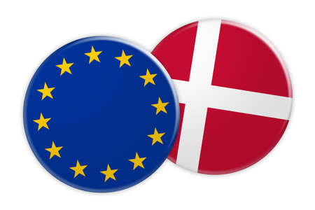 foreign national: News Concept: EU Flag Button On Denmark Flag Button, 3d illustration on white background