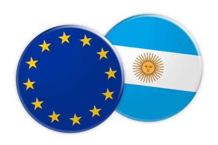 News Concept: EU Flag Button On Argentina Flag Button, 3d illustration on white background