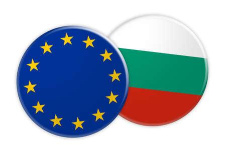 News Concept: EU Flag Button On Bulgaria Flag Button, 3d illustration on white background