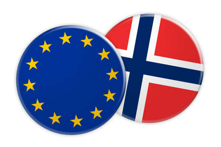 foreign national: News Concept: EU Flag Button On Norway Flag Button, 3d illustration on white background