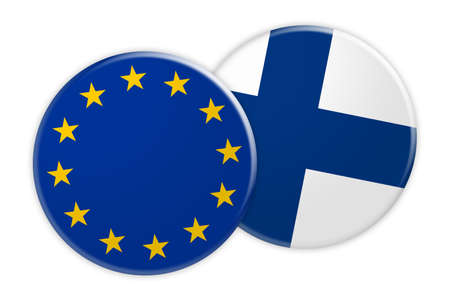 News Concept: EU Flag Button On Finland Flag Button, 3d illustration on white background Stock Photo