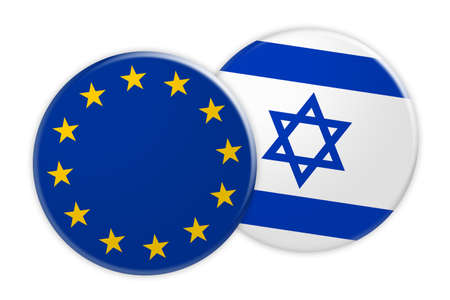 News Concept: EU Flag Button On Israel Flag Button, 3d illustration on white background