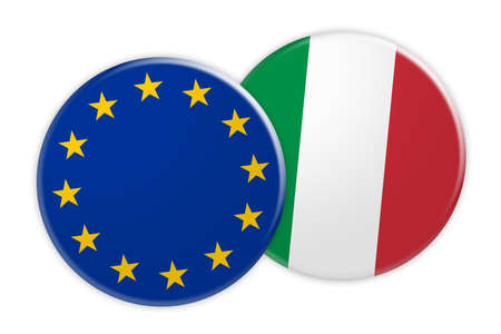treaty: News Concept: EU Flag Button On Italy Flag Button, 3d illustration on white background Stock Photo