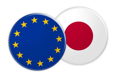 News Concept: EU Flag Button On Japan Flag Button, 3d illustration on white background
