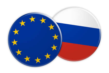 News Concept: EU Flag Button On Russia Flag Button, 3d illustration on white background