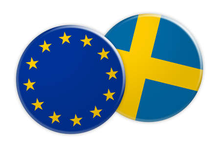 treaty: News Concept: EU Flag Button On Sweden Flag Button, 3d illustration on white background