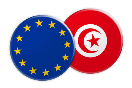 foreign national: News Concept: EU Flag Button On Tunisia Flag Button, 3d illustration on white background