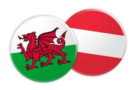 Concetto di notizie: Bottone della bandiera di Galles sul bottone della bandiera dell'Austria, illustrazione 3d su fondo bianco Archivio Fotografico