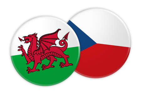 News Concept: Wales Flag Button On Czech Republic Flag Button, 3d illustration on white background Stock Photo