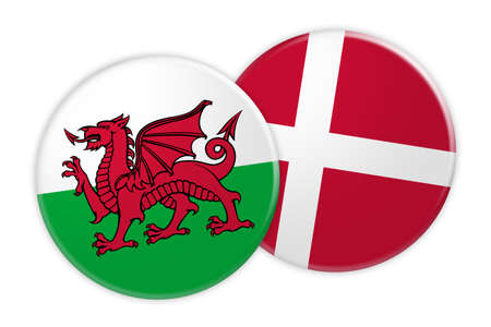 News Concept: Wales Flag Button On Denmark Flag Button, 3d illustration on white background