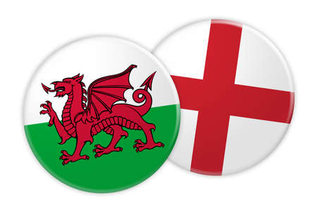 News Concept: Wales Flag Button On England Flag Button, 3d illustration on white background Archivio Fotografico