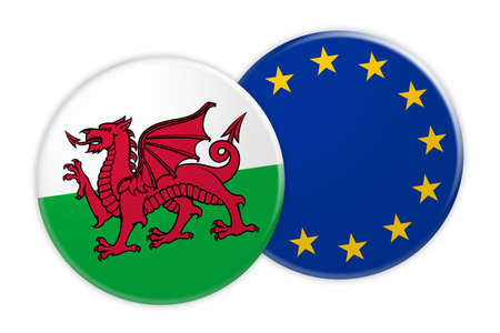 News Concept: Wales Flag Button On EU Flag Button, 3d illustration on white background Stock Photo