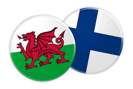 News Concept: Wales Flag Button On Finland Flag Button, 3d illustration on white background