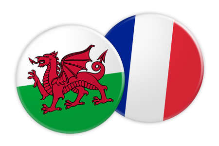 News Concept: Wales Flag Button On France Flag Button, 3d illustration on white background Stock Photo