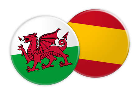News Concept: Wales Flag Button On Spain Flag Button, 3d illustration on white background