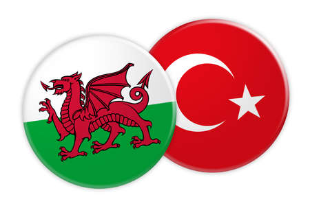 News Concept: Wales Flag Button On Turkey Flag Button, 3d illustration on white background