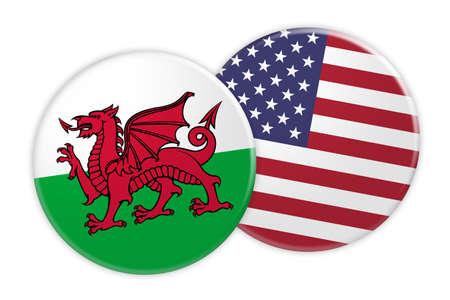 Concetto di notizie: pulsante di bandiera del Galles sul tasto della bandierina degli Stati Uniti, illustrazione 3d su priorità bassa bianca