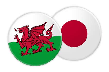Concetto di notizie: Bottone della bandiera del Galles sul bottone della bandiera del Giappone, illustrazione 3d su fondo bianco Archivio Fotografico