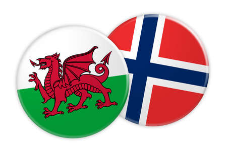 News Concept: Wales Flag Button On Norway Flag Button, 3d illustration on white background Stock Photo