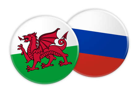 News Concept: Wales Flag Button On Russia Flag Button, 3d illustration on white background
