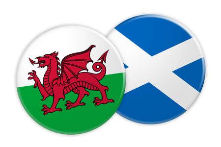 Concetto di notizie: Bottone della bandiera di Galles sul bottone della bandiera della Scozia, illustrazione 3d su fondo bianco Archivio Fotografico
