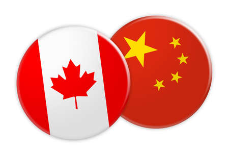 News Concept: Canada Flag Button On China Flag Button, 3d illustration on white background