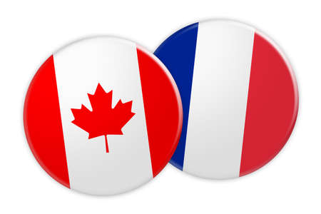 News Concept: Canada Flag Button On France Flag Button, 3d illustration on white background